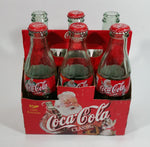 1999 Coca-Cola Classic Soda Pop Limited Edition Santa Claus 6-Pack of Empty 8 oz. Glass Bottles with Paper Carrier (4 Lids)