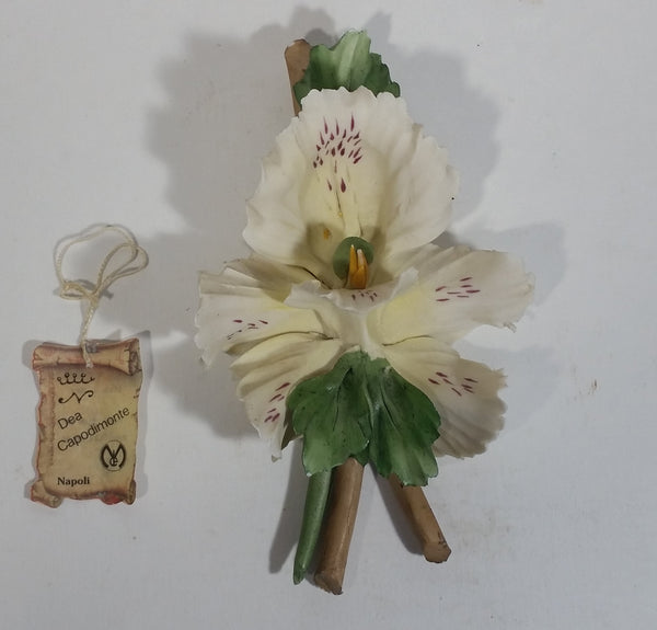 Dea Capodimonte Napoli Porcelain White Lily Flower with Tags Made in Italy with Original Tag