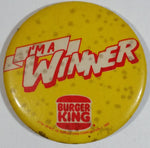 Vintage 1982 Burger King Restaurants I'm A Winner Employee Promotional Round Button Pin