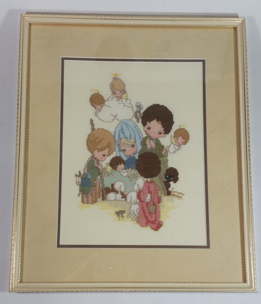 Precious Moments Christmas Nativity Scene Mary Joseph Baby Jesus Cross Stitch Completed and Professionally Wood Framed