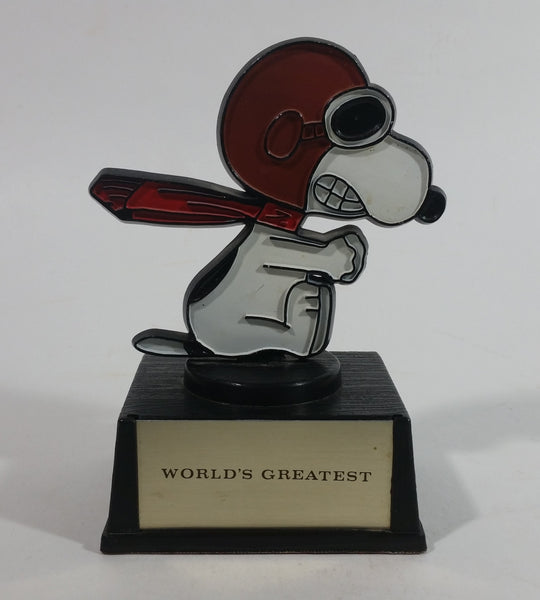 Vintage 1970s Aviva United Syndicate Features Snoopy Snow GT Racer Style 'World's Greatest' Trophy Peanuts Charlie Brown Cartoon Comic Strip Collectible