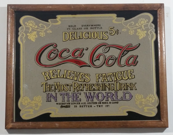 "Vintage Coca-Cola Coke Delicious 5 Cents Relieves Fatigue Wood Framed Mirror Pub Lounge Wall Decor 8 1/4"" x 10 1/2"""