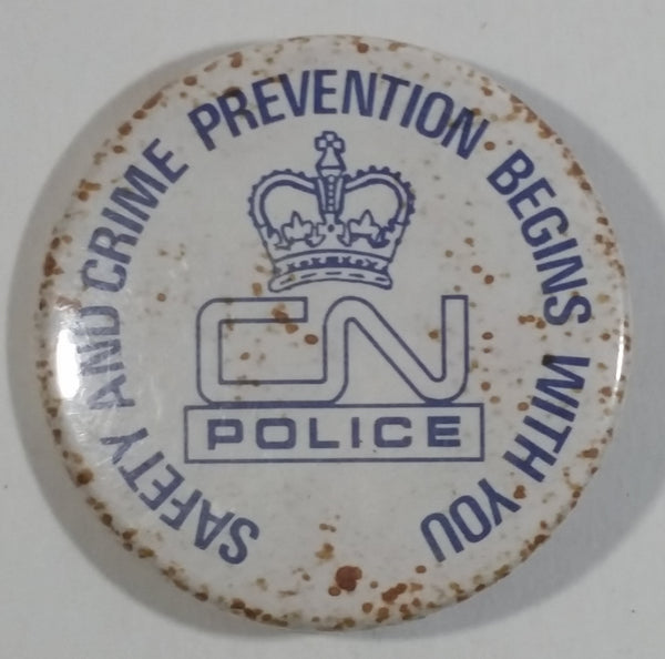 Vintage Canadian National Railway CN Police Safety And Crime Prevention Begins With you Circular Round White Button Pin - Railroad Colletible