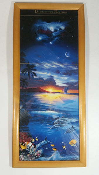 "Christian Riese Lassen 'Dawn Of The Dolphins' Gloss Art Print Full Height Wood Framed 9"" x ""21"