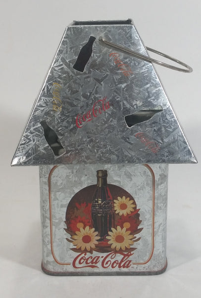 Coca-Cola Coke Soda Pop Flower Decor Galvanized Metal Outdoor Hanging Candle Lantern with Bottle Cut-outs