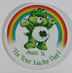 "Vintage 1983 Carlton Care Bears Green Good Luck Bear with Rainbow Sure 'n ""Tis Your Lucky Day!"" Circular Round Button Pin - Cartoon Collectible"