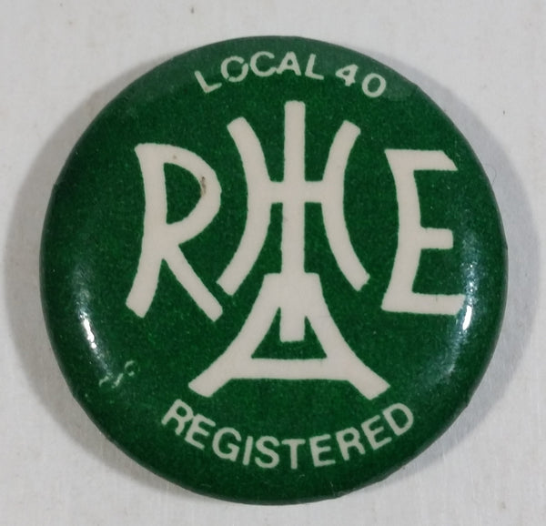 "Local 40 Union B.C. Hotel and Hospitality Works Green 1"" Diameter Button Pin Union"