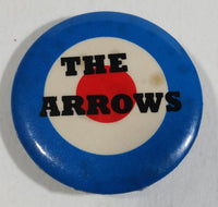 "Vintage 1980s 'The Arrows' Canadian Band 1 1/4"" Diameter Bullseye Blue White Red Round Button Pin Music Collectible"
