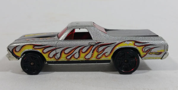 2009 Hot Wheels Heat Fleet 68 El Camino Metalflake Silver Die Cast Toy Muscle Car Vehicle
