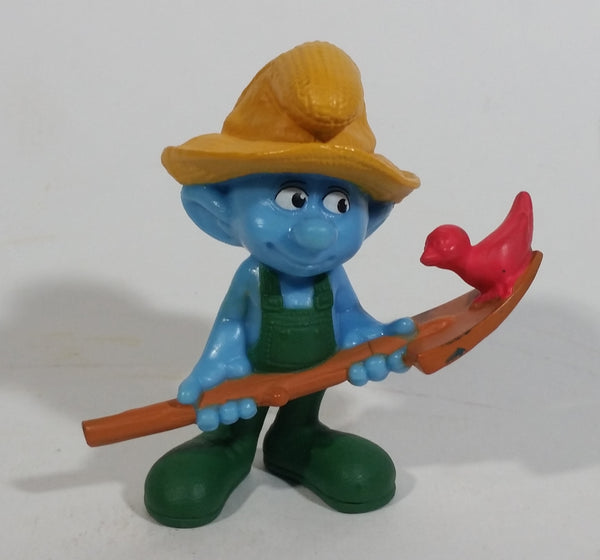 "2011 Peyo ""Farmer"" Smurf Holding Shovel with Bird PVC Toy Figure McDonald's Happy Meal"
