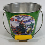 "2006 John Deere Moline Illinois Winter Farm Tractor Scene 5 1/2"" Tall Green Metal Pail by Edward C. Schaefer"