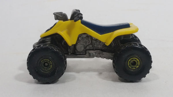 1988 Hot Wheels Suzuki Quadracer Yellow Die Cast ATV Toy Vehicle
