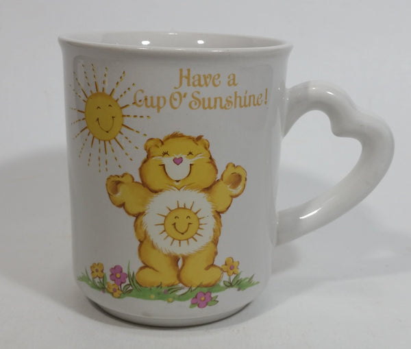 1983 American Greetings Designer Collection Care Bears 'Have a Cup O' Sunshine!' Stoneware Coffee Mug Cup with Heart Shaped Handle