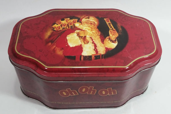 Oh Henry! OH OH OH Santa Claus Christmas Holiday Red Tin Container Collectible