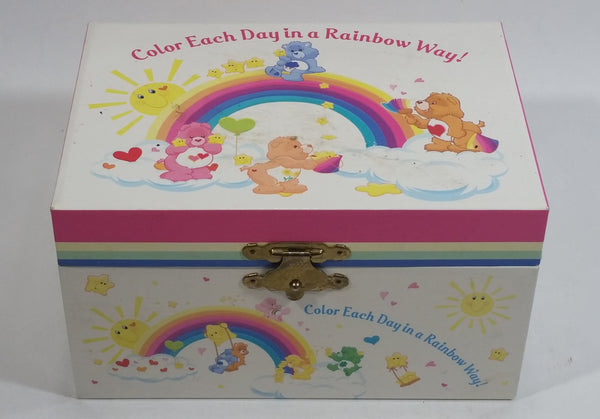 "2003 TCFC Care Bears 'Color Each Day in a Rainbow Ray!' Wind Up Musical Keepsake Trinket Box - Plays ""Care Bear"""