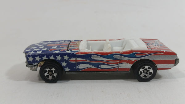2004 Hot Wheels Star Spangled 2 '65 Mustang Convertible Stars and Stripes USA Red White and Blue Die Cast Toy Car Vehicle with Opening Hood