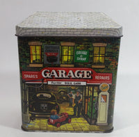 1990 The Silver Crane Company Garage Car Care Kit Nostalgic Metal Tin Container Collectible with Great Graphics