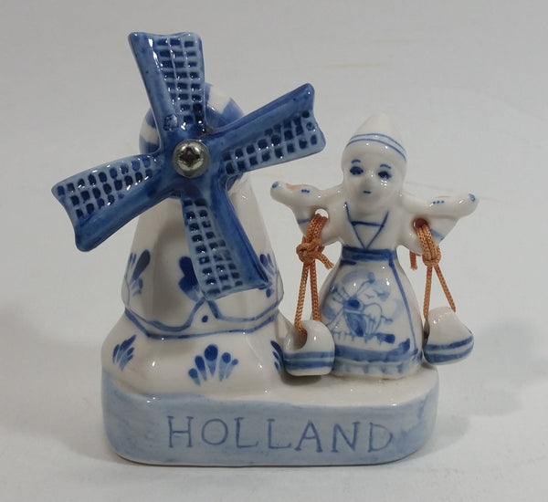 Vintage Beautiful Authentic Delft Deco Holland Rotating Windmill with Woman Carrying Water Pails Blue and White Hand Painted Ceramic Figurine