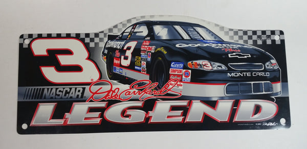 "2001 Wincraft NASCAR Legend Dale Earnhardt #3 Racing Car 9"" x 18"" Sign Wall Hanging Automotive Collectible"
