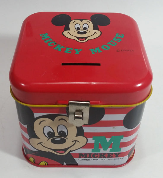 Rare Vintage 1970s Melody Disney Mickey Mouse Red and White Tin Metal Coin Bank