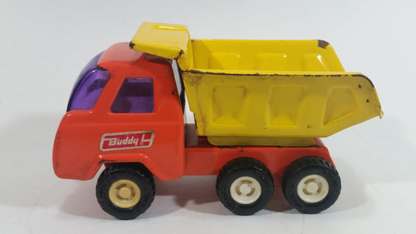 Vintage Buddy L Construction Orange and Yellow Dump Truck Pressed Steel Toy Car Vehicle - Missing front grill