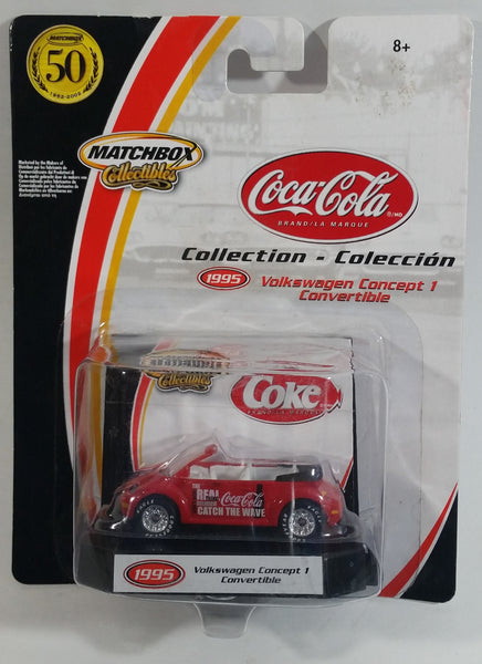 2002 Matchbox 50th Anniversary Coca-Cola Coke 1995 Volkswagen Concept 1 Convertible Red Die Cast Toy Car Vehicle New in Package