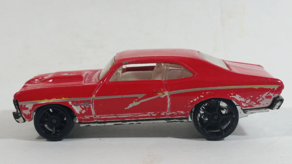 2008 Hot Wheels Muscle Mania '68 Nova Red Die Cast Toy Car Vehicle