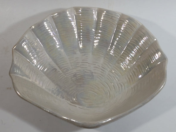 Iridescent Mother of Pearl Glazed Clam Shell Ceramic Center Bowl