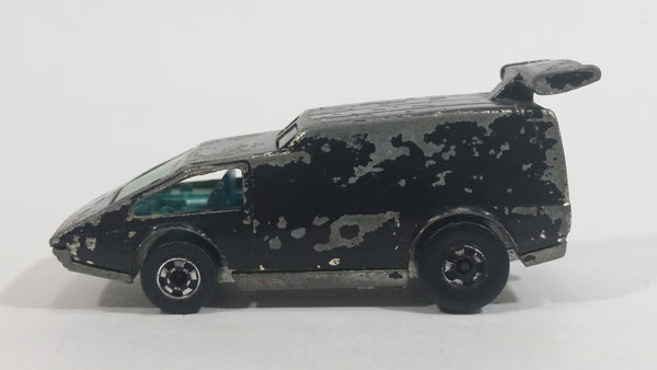 1979 Hot Wheels Golden Machines Spoiler Sport Van Black (Originally Gold Chrome) Die Cast Toy Car Vehicle - Hong Kong - 2 Rear window Verison