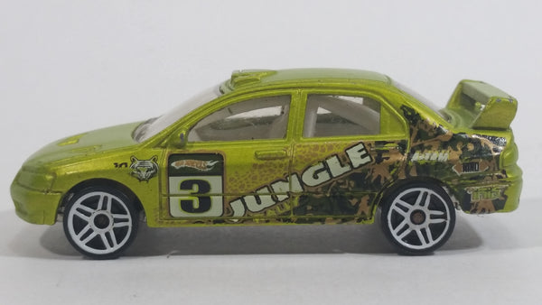 2010 Hot Wheels Jungle Rally Mitsubishi EVO Lancer Evolution 7 Lime Green Satin Metallic Antifreeze Die Cast Toy Car Vehicle