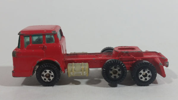 Vintage 1973 Yatming Ford F600 Cabover Red Semi Truck Tractor Rig Die Cast Toy Car Vehicle