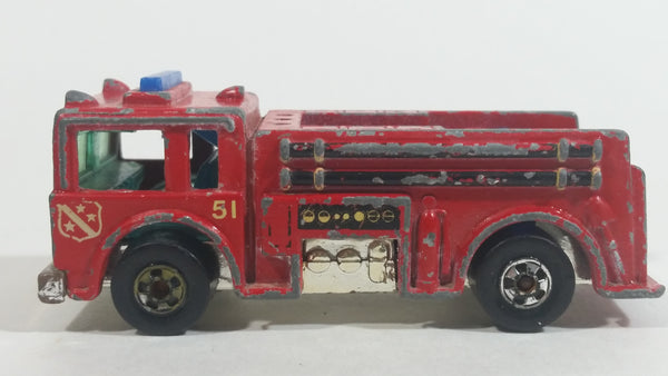 1982 Hot Wheels Fire Eater Red Fire Truck Die Cast Toy Car Vehicle - BW - Blue Lights