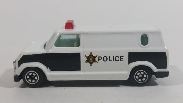 Yatming 1970s Ford Econoline Police Cop Van White and Black Die Cast Toy Car Vehicle