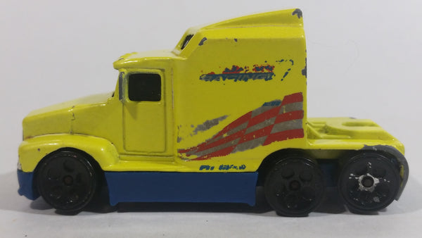 1999 Hot Wheels Race Team Crew '76 Big Rig Semi Tractor Truck Yellow Die Cast Toy Car Vehicle