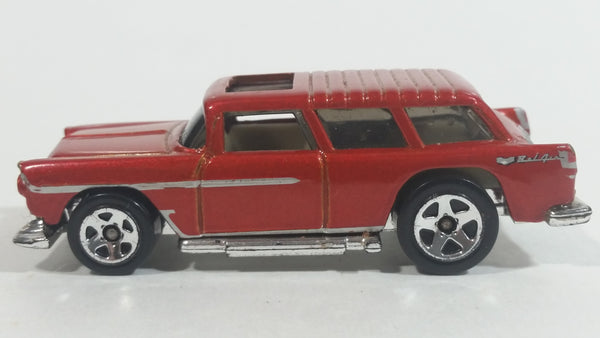 2010 Hot Wheels Hot Auctions Chevy Nomad Metalflake Dark Red Die Cast Toy Station Wagon Car Vehicle