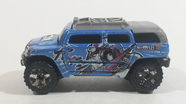 2005 Hot Wheels Robo Revenge Rockster Blue Hummer Style Die Cast Toy Car Vehicle