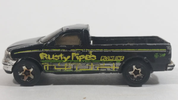 1999 Hot Wheels House Calls 1997 Ford F-150 Black Rusty Pipes Plumbing Die Cast Toy Pickup Truck Vehicle