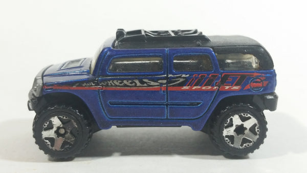 2004 Hot Wheels First Editions Rockster Blue Hummer Style Die Cast Toy Car Vehicle