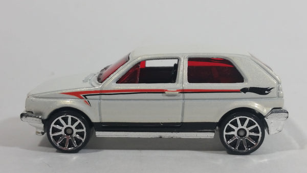 2009 Hot Wheels VW Golf GTI White Die Cast Toy Car Vehicle