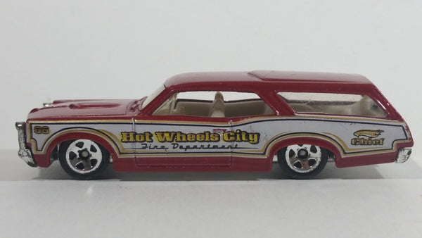 2010 Hot Wheels City Works Custom '66 GTO Wagon Fire Department Dark Red and White Die Cast Toy Car Vehicle