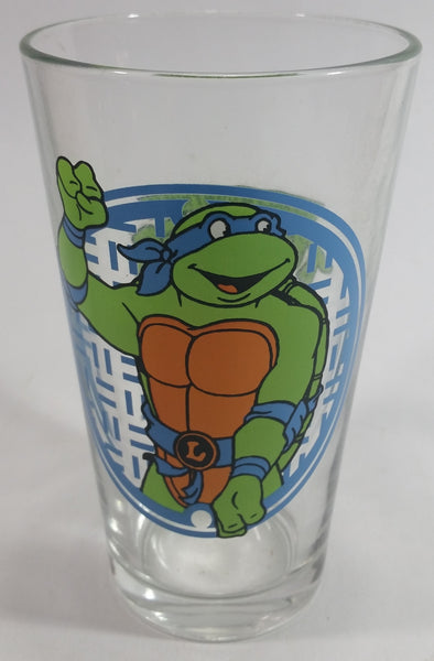 "2014 Viacom TMNT Teenage Mutant Ninja Turtles Leonardo 6"" Tall Glass Cup Television Cartoon Collectible"
