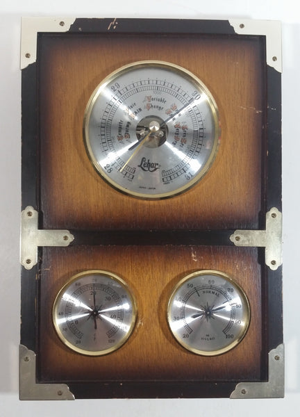 Vintage Lehar Barometer, Thermometer, Hyrgrometer Wood Boxed Weather Station Made in Japan