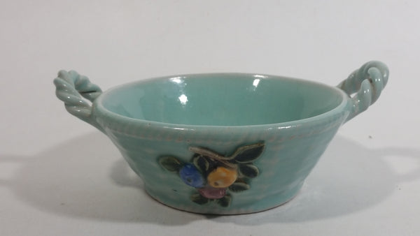 Vintage Bourne Denby Hand Painted Mint Green Ceramic Pottery Bowl Basket with Handles and Flower Decor