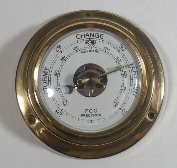 FCC Precision Company Brass Cased Barometer Wall Hanging or Wood Mount
