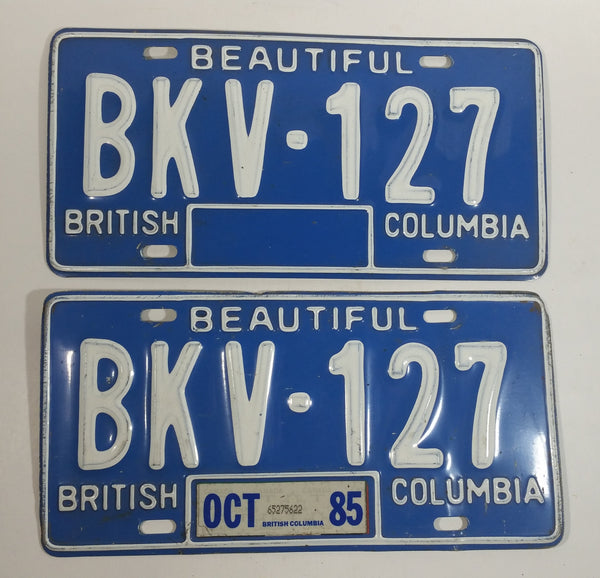1985 Beautiful British Columbia Blue with White Letters Vehicle License Plate Set of 2 BKV 127