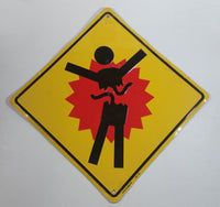 Bungie Bungee Jumping Halo Video Game Splatter Yellow Metal Warning Sign