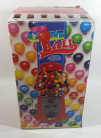 "Antique Style Metal and Glass Globe Red Colored 11 1/2"" Tall Candy Gumball Dispenser With Original Box"