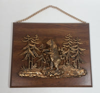 Vintage A & F Canada 3D  Scene of Bear Standing Up In a Canadian Forest Wood Plaque Wall Hanging