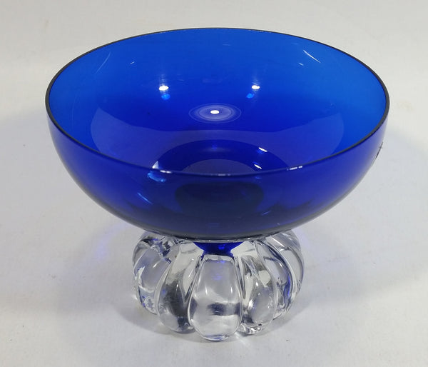 Beautiful Cobalt Blue Glass Candy or Dessert Sundae Bowl with Clear Glass Sliced Fruit Style Pedestal Base