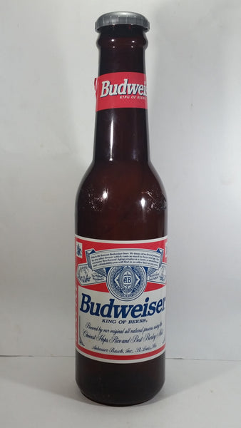 "Budweiser King of Beers Huge Large 23"" Tall Plastic Beer Bottle Coin Bank Collectible"